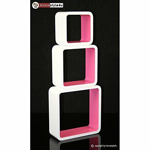 Homestyle4u Cube Wandregal Regal Bücherregal Hängeregal 3 er Set Retro Design weiss pink