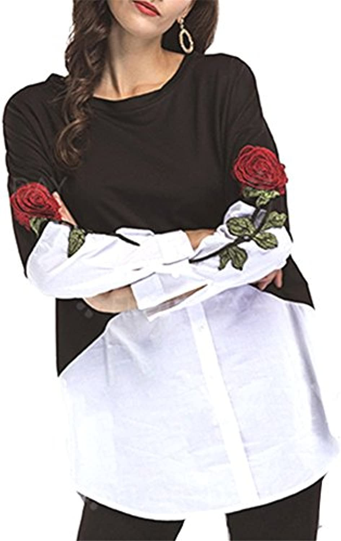 YUCH Lunghe donnadress Ricamato rosa A Maniche Lunghe YUCH Camicia  Irregolare. B07D7W9LD5 Parent 52a3f9 b3cec97546d