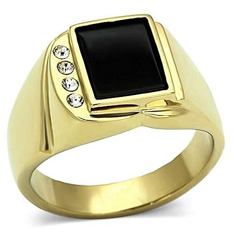 Ah! Jewellery Men's Genuine Black ONYX 24k Gold Over Stainless