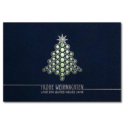 Sets 100 - Weihnachtskarten DIN B6 Doppelkarten mit hochwertiger Blind- und Folienprägung - Motiv