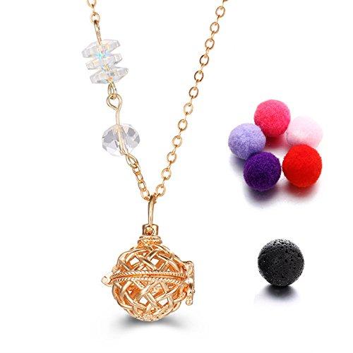 TONVER diffusore di oli essenziali collana, placcato oro, aromaterapia medaglione ciondolo collana set di gioielli per donne, 1pietra lavica + 5colori casuali refill Hairball (mesh–oro)