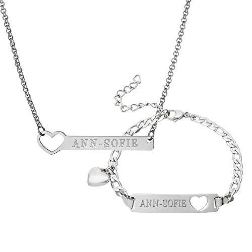 Gravado Armband und Halskette aus Edelstahl - Personalisiert mit Namen - Herz Anhänger - Karabinerverschluss - Damen Schmuck Set (Armbänder Mit Namen Graviert)
