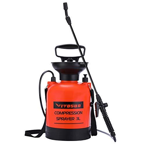 Gallon Sprayer (Vivosun Drucksprüher für Rasen und Garten, mit Druckentlastungsventil, verstellbarer Schultergurt und Handschuhen 0.8 Gallon/3L)