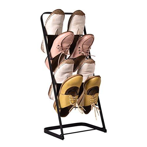 Schuhregal Haushalt Eisen Kunst 4 Tiers Schuh Aufbewahrung Platzsparende Schuh Turm Schrank Speicherorganisator Schwarz