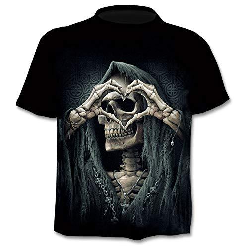 Crazy Hawaii-hemden (NSDX Herren 3D T-Shirt Männliches Skelett Interne Organe 3D Gedruckt Rundhals Kurzarm T-Shirt Anime Lustige Halloween Männer T-Shirt)