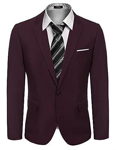 Hasuit Men's Solid One Button Blazer Jacket Slim Fit Dress Suit
