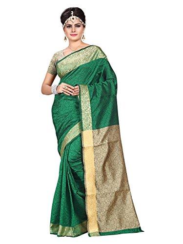 Shonaya Women\'s Designer Woven Banarasi Art SIlk Green Saree With Unstitched Blouse Piece