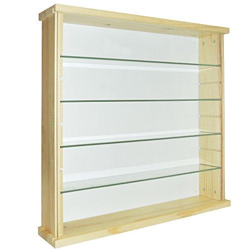 Watsons mostra - vetrinetta legno legno masselloo 4 mensole con parete in vetro - pino