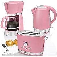 CTC Set Desayuno Vintage, Cafetera de goteo 15 tazas, Tostadora de pan 2 rebanadas, Hervidor de agua eléctrico 1,7 litros, rosa pastel estilo Retro