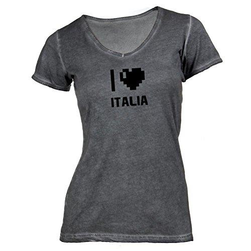 Damen T-Shirt V-Ausschnitt - I Love Italia - Italien Reisen Herz Heart Pixel Dunkelgrau