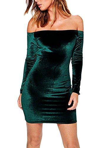 MEXI Damen V-Ausschnitt Bleistiftkleid Business Kleid Retro Abendkleid Bodycon Kleider 32-46 Style 06-Dunkelgrün
