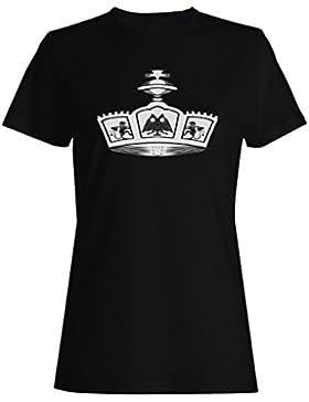 Novedad divertida del arte de la reina del rey de la corona camiseta de las mujeres a583f