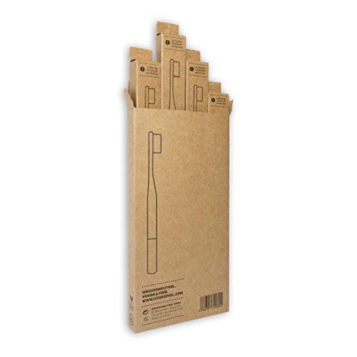 HYDROPHIL nachhaltige Zahnbürste aus Bambus blau extraweich 4er Pack weich - 3