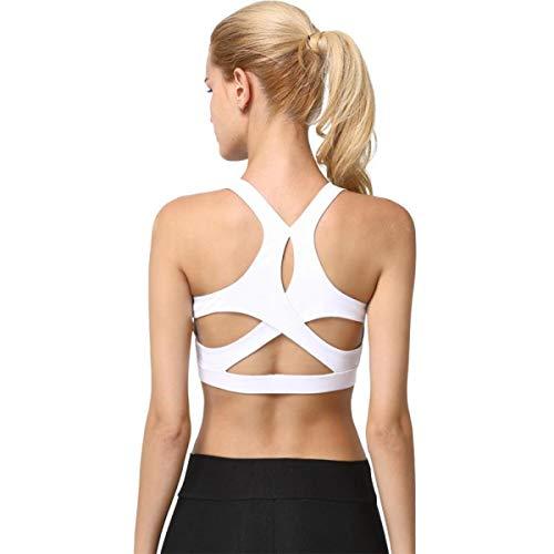 Leoyee High Impact atmungsaktiv Crossover Rücken Stoßfest Sport-BH für den Lauf Fitness Yoga (Weiß, S Fit 30B 30C 30D 32B 32C 32D 34B 34C) - 32d Sport-bh