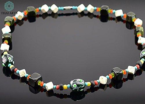 """Halskette """"Siam Ong"""", Kette für Frauen (Glasperlenkette aus Handarbeit), exklusiver Schmuck mit Perlen für Frauen mit Stil. Handgefertigte Perlenkette aus Thailand"""