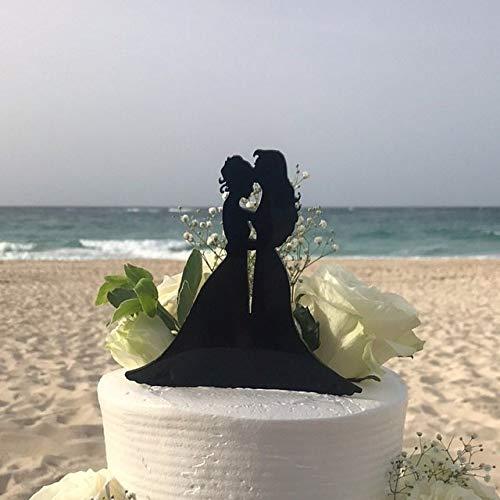 Ethelt5IV Lesben Hochzeitstorte Topper 2 Bräute in Kleidern gleichgeschlechtliche Cake Topper Gay Hochzeitstorte Topper Homosexuelle Silhouette Homosexual Made In USA