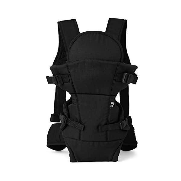 Mothercare Three Position Baby Carrier (Black) Mothercare Suitable from birth to a maximum weight of 12 kg 3-position carrier: front position facing in from birth, front position facing out from 3 months, from 6 months it can be worn on the back Removable Cushioned insert to provide added support and comfort for newborns 2