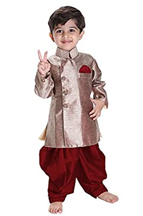 JBN Creation Boys Cotton Silk Sherwani Suit With Patiala Style Cowl Dhoti Pant (Gold_VASBSW121MA_6-12 Months)