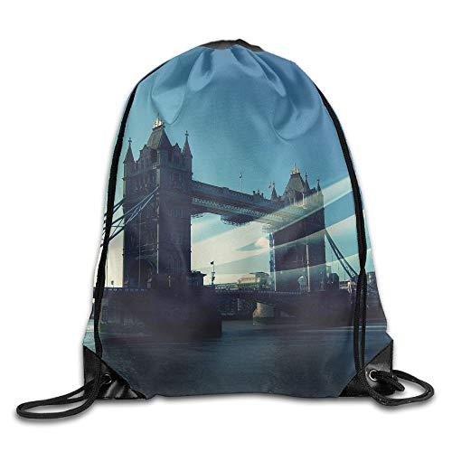 HLKPE Britain London Bridge River City Drawstring Bag for Traveling Or Shopping Casual Daypacks School Bags