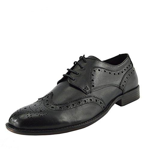 Scossa Calzature Uomo Classico Oxford Scarpe In Vera Pelle Brogue In Pizzo Casual Scarpe Formali Nere Oxford