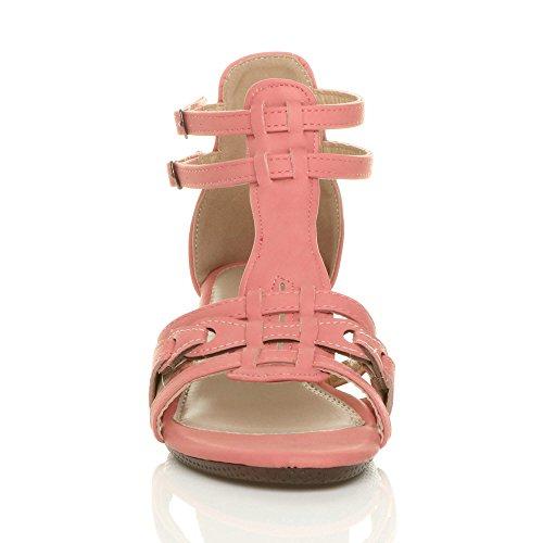 Damen Klein Mitte Keilabsatz Riemchen Schnalle T-Riemen Gladiator Sandalen Größe Korallenrote rosa