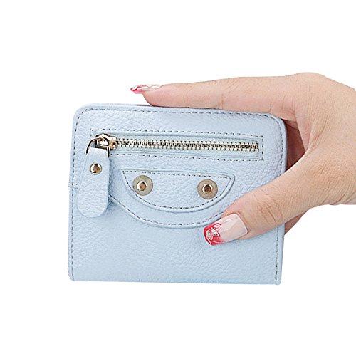 Damen Minibörse Münzbörse Minigeldbörse Wiener Schachtel Geldbörse Geldbeutel Portemonnaie Mini-Geldbörse I Kartenetui mit Münzfach aus PU Leder Slim-Wallet Hell-Blau