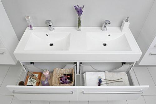 Quentis Doppelwaschplatz Aruva, Breite 140 cm, Waschplatzset 3-teilig, Waschbeckenunterbau mit zwei Schubladen, Front und Korpus weiß glänzend - 6