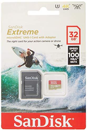 SanDisk - Tarjeta de Memoria Extreme 32 GB microSDHC para cámaras de Deportes de acción...
