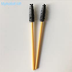 9th Avenue 6: 200pcs Nylon Disposable Golden Handle Eyelash Brushes Eyelash Extension Makeup Brushes Tools