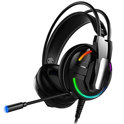 YUNYIN Gaming-Headset,Kopfhörer Ergonomie, Stereo, Fernbedienung, Noise Cancelling-Mikrofon, Subwoofer, LED-Beleuchtung, USB / 3,5-mm-Buchse, konzipiert für Gamer!-RGBstreamer