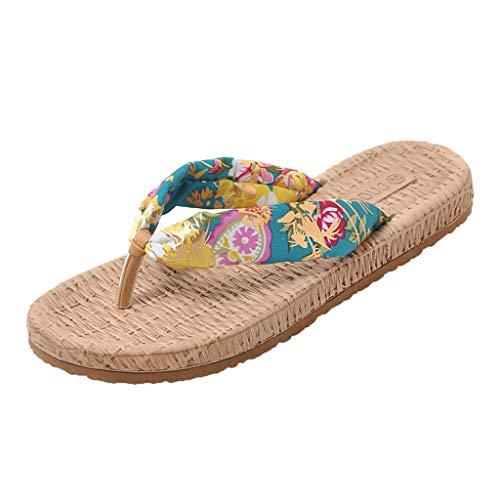 SOLELING Moda Fatta a Mano da Donna Indoor Outdoor Home Spa Hotel Paglia Estate Infradito Sandali Pantofole Tanga a Nastro