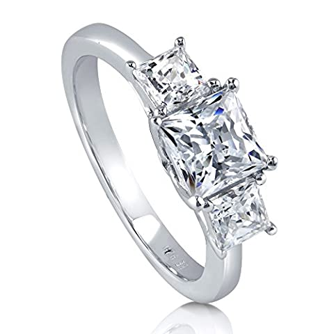 BERRICLE Rhodium Plated Sterling Silver 3-Stone Promise Ring Made with Swarovski Zirconia Size 5