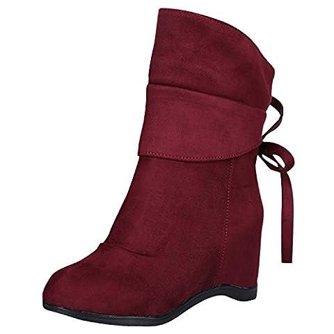 Oasap Femme Mode Boots Talons Compensés Bout Rond À Enfiler, Red EURO38/US6.5/UK4.5