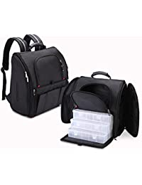 MUA LIMITED Professional Makeup Backpack with Removable Drawers, Cosmetic Storage Bag, Black