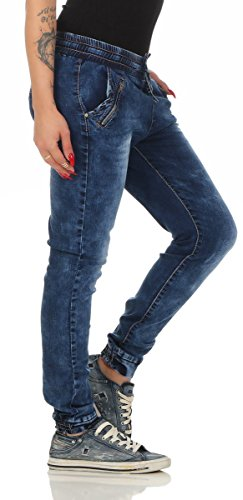 10802 Fashion4Young Damen Jeans Hose Boyfriend Haremsjeans Haremsstyle Röhre Damenjeans pants Blau