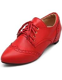 NJX/ hug Zapatos de mujer-Tacón Bajo-Tacones / Punta Redonda-Oxfords-Vestido / Casual-Semicuero-Negro / Marrón / Rojo / Beige , brown-us10.5 / eu42 / uk8.5 / cn43 , brown-us10.5 / eu42 / uk8.5 / cn43