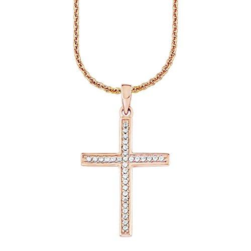 s.Oliver Damen-Kette 45 cm mit Anhänger Kreuz 925 Sterling Silber Zirkonia weiß