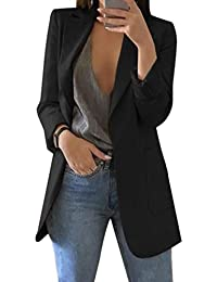 Mujer Manga Larga Blazer, Moda Color Sólido Slim Traje Chaqueta con Bolsillos Mujeres Casual OL Oficina Negocio Trabajo Abrigo Tallas Grandes Outwear Arriba