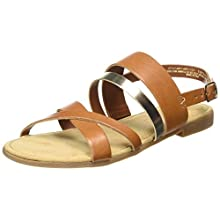 s.Oliver Women's 5-5-28119-24 Gladiator Sandals, Brown (Cognac/LT Gold 331), 5.5 UK