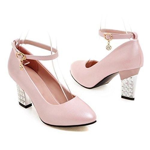 TAOFFEN Damen Mode Blockabsatz High Heel Pumps Mit Schnalle Rosa