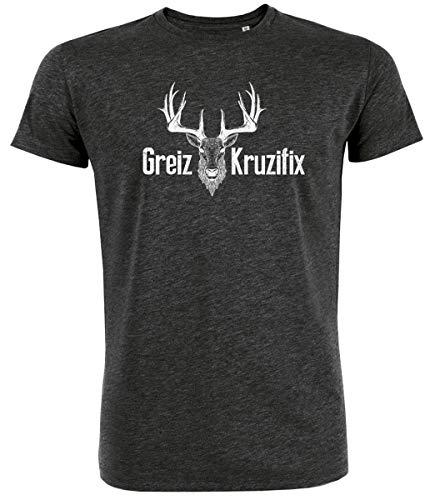 Tages-bio-t-shirt (Trachten T-Shirt Greiz Kruzifix Bio Baumwolle S-3XL Trachtenshirt Oktoberfest Bayrisch Wiesn Lederhosen Männer Herren Hirsch Österreich (Darkgrey-Weiss, S))