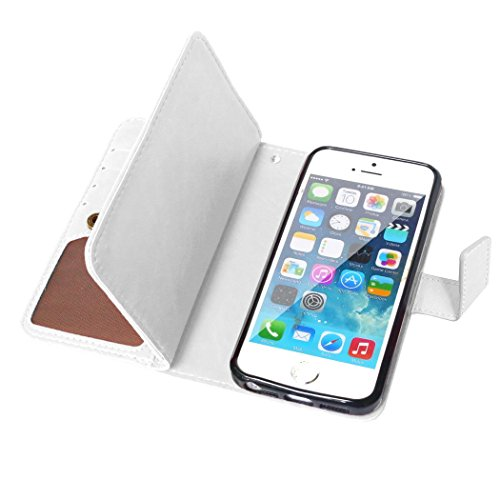 iPhone SE Hülle,iPhone 5S Hülle,iPhone 5 Hülle, SainCat Ledertasche Brieftasche im BookStyle PU Leder Muster Hülle Wallet Case Folio Schutzhülle Bumper Handytasche Backcover Handy Tasche Flip Cover Bu Weiß