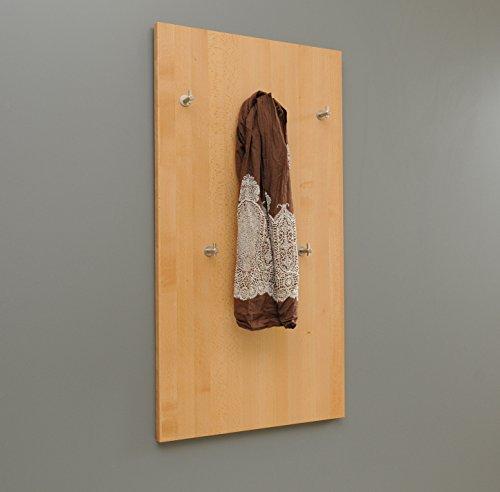 Holz-Projekt-Summer Wandgarderobe Flurgarderobe Garderobenpaneel Massivholz Buche mit 5 Kleiderhaken