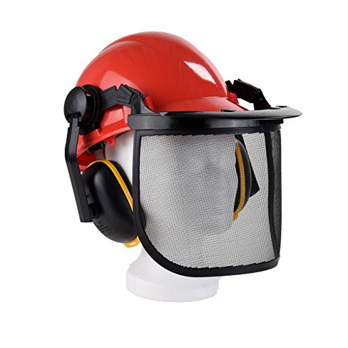 Kopfschutzhelm Waldarbeiterhelm Gr. 52-64cm Kettensäge Gesichtschutz Sägeschutz