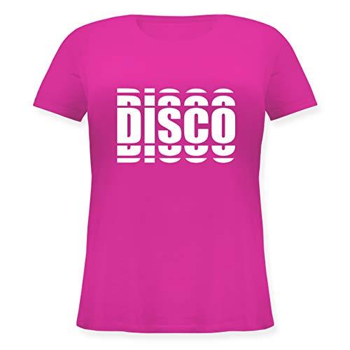 Festival - Disco in Grafischem Muster - L (48) - Fuchsia - JHK601 - Lockeres Damen-Shirt in großen Größen mit Rundhalsausschnitt (80er Disco Tragen)