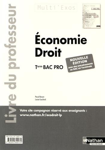 Economie Droit Tle Bac Pro : Livre du professeur