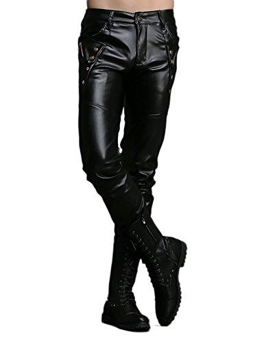 Idopy Hombres `s Hip Hop Biker Negro Faux Leather Pantalones Pantalones