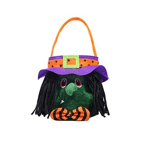 Xuxuou Halloween Tasche Süßigkeit Kürbis Tasche Kinder Tasche Halloween Kostüme Keksbeutel (Hexe)