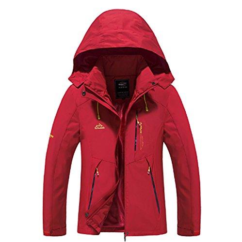 Frauen Wanderjacke Wasserdichte Thermische Warme Winddicht Isolierte Atmungsaktive Outdoor Winter Jacke Top Für Ski Camping ( Color : Red , Size : L ) Isolierte Ski-mantel-frauen