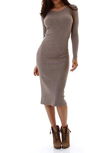 MOEWY Damen Kleid, ein knielanges Strickleid mit langen Ärmel und Rundhalsausschnitt Gr. 34-38 Hellbraun